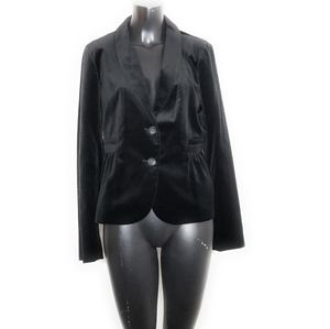 J Crew Blazer Velour Jacket Black Womens Size 14